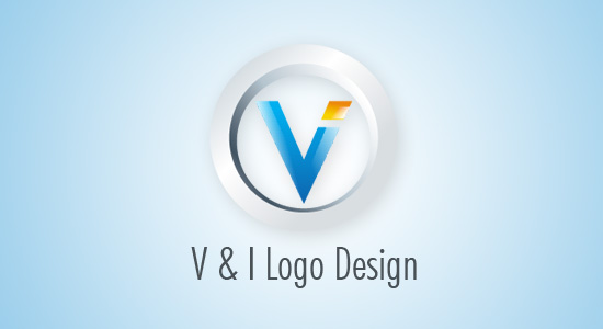 3d v and i letter logo design