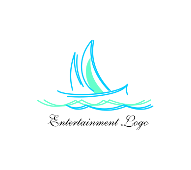 beach sea boat entertainment vector logo inspiration