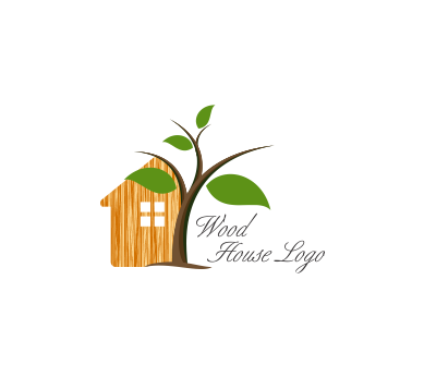 Green tree house construction building vector logo for Png home designs