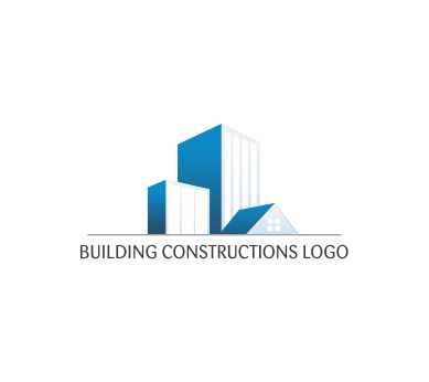 Modern house construction building blue vector logo for Modern house logo